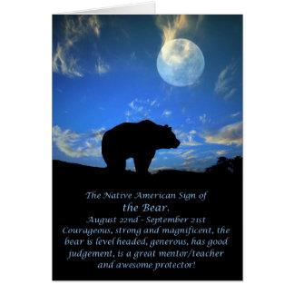 Tarjeta Muestra del zodiaco del nativo americano del oso