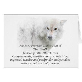 Tarjeta Muestra del zodiaco del nativo americano el lobo