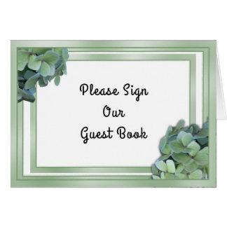 Tarjeta Muestra verde de la tabla del libro de visitas del