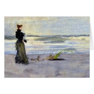 Tarjeta Mujer de Edwardian en la playa