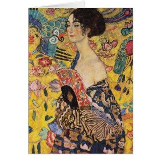 Tarjeta Mujer hermosa con la fan por Klimt