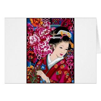 Tarjeta Mujer japonesa del vintage en kimono
