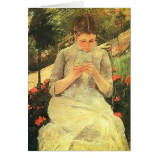 Tarjeta Mujer joven de Maria Cassatt- que cose en el