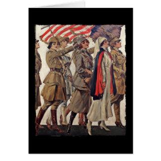 Tarjeta Mujeres de WWI que cuidan a reclutadores
