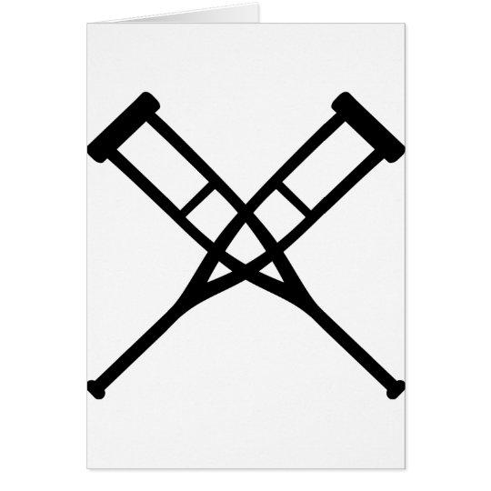 Tarjeta muletas cruzadas