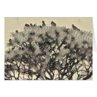 Tarjeta Multitud de pájaros en un árbol