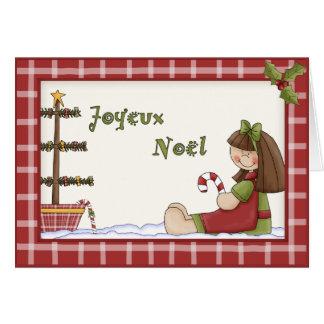 Tarjeta Muñeca de trapo caprichosa del navidad en lengua