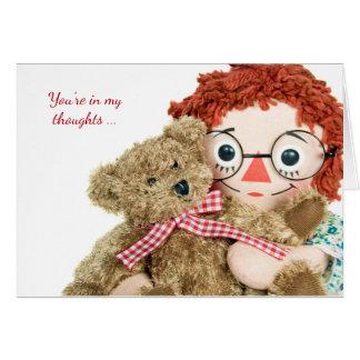Tarjeta muñeca de trapo y oso de peluche amistad-viejos