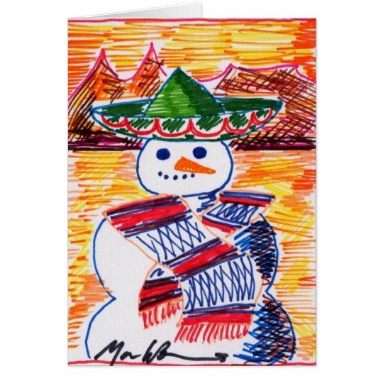 Tarjeta Muñeco de nieve en México en rotura del navidad