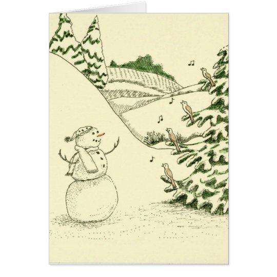 Tarjeta Muñeco de nieve y pájaros
