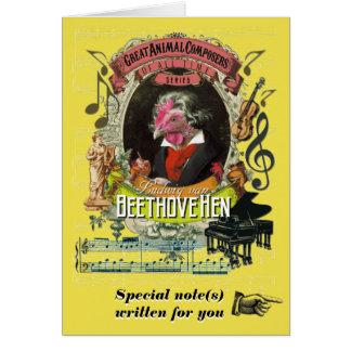Tarjeta Música animal divertida de Beethovehen de la
