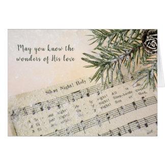 Tarjeta Música silenciosa de la noche del navidad en nieve