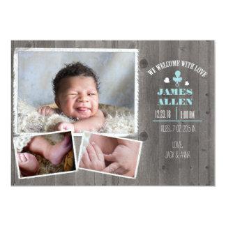 Tarjeta Nacimiento de madera rústico Annoucment del bebé