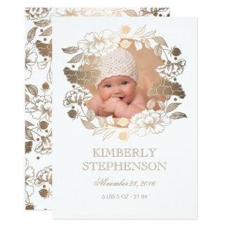 Tarjeta Nacimiento recién nacido dulce de la foto del bebé