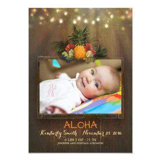 Tarjeta Nacimiento recién nacido tropical de la foto del