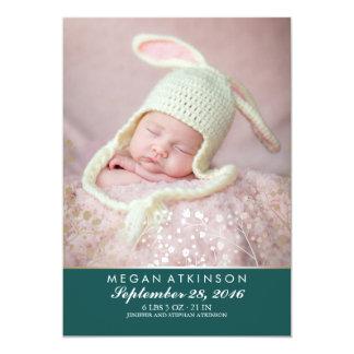 Tarjeta Nacimiento recién nacido verde azulado de la foto