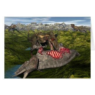 Tarjeta Nanotyrannus que come el triceratops muerto