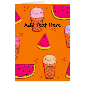 Tarjeta Naranja de la sandía del helado del niño de la
