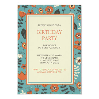 Tarjeta Naranja moderno y fiesta de cumpleaños floral azul