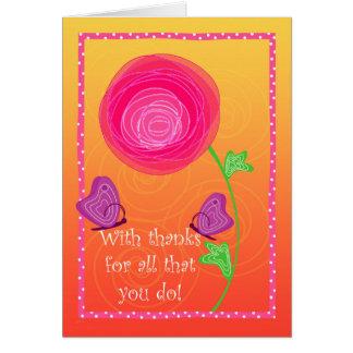 Tarjeta Naranja rosado del Admin de las favorables