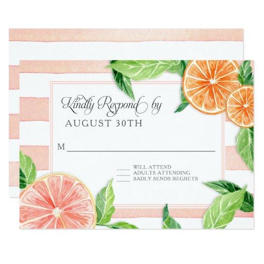 Tarjeta Naranjas rayados rústicos del pomelo rosado de la