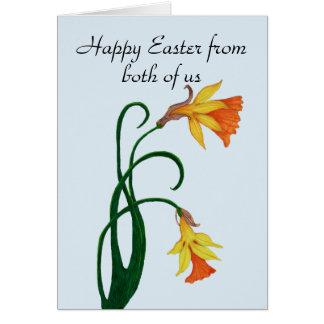 Tarjeta Narciso amarillo del lirio de pascua, Pascua feliz