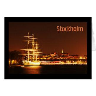 Tarjeta Nave en la noche en Estocolmo, Suecia