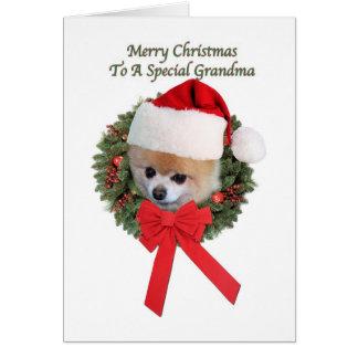 Tarjeta Navidad, abuela, perro de Pomeranian