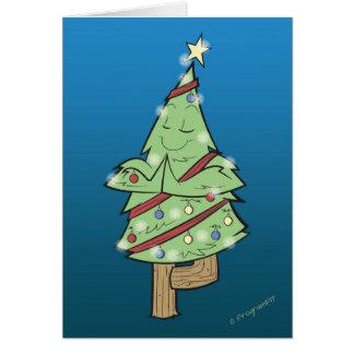 Tarjeta Navidad - actitud del árbol de la yoga