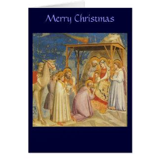 Tarjeta Navidad - adoración de unos de los reyes magos -
