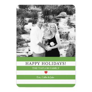 Tarjeta Navidad alegre de la foto de las rayas que saluda