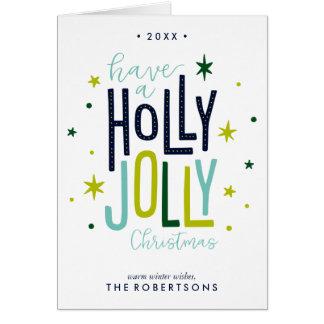 Tarjeta Navidad alegre del acebo