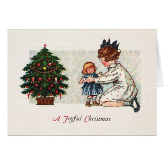 Tarjeta Navidad alegre - vintage