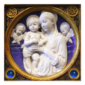 Tarjeta Navidad azul del zafiro de MADONNA, del NIÑO Y de
