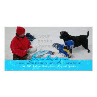Tarjeta Navidad azul horizontal del tenedor grande de la