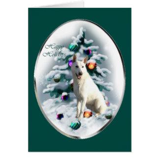 Tarjeta Navidad blanco del pastor alemán