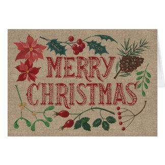 Tarjeta Navidad botánico tradicional