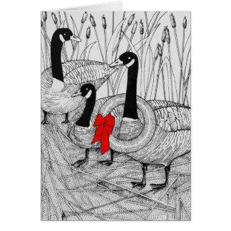 Tarjeta Navidad canadiense de los gansos