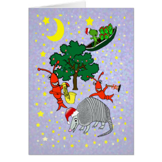 Tarjeta Navidad caprichosa del cocodrilo de los cangrejos