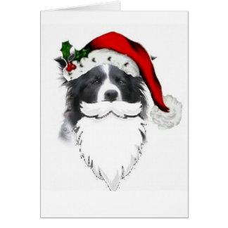 Tarjeta Navidad Card~Santa del border collie con la barba