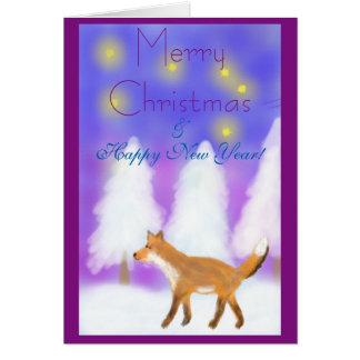 Tarjeta Navidad con un zorro, las estrellas y el país de