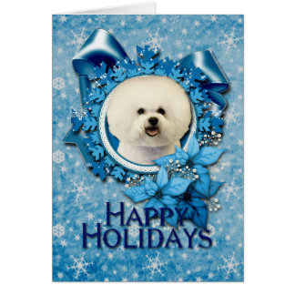 Tarjeta Navidad - copo de nieve azul - Bichon Frise