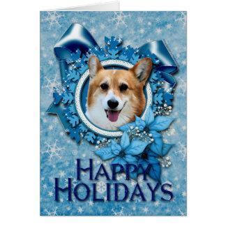 Tarjeta Navidad - copo de nieve azul - Corgi - Owen