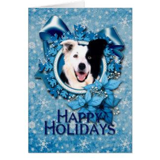 Tarjeta Navidad - copos de nieve azules - border collie