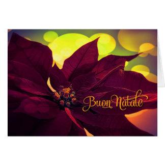 Tarjeta Navidad de Buon Natale del italiano - Poinsettia