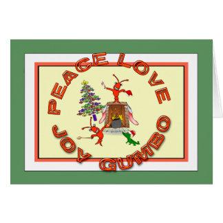 Tarjeta Navidad de Cajun del Gumbo del amor de la paz
