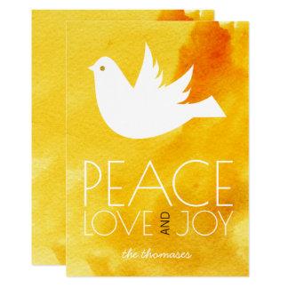 Tarjeta Navidad de la acuarela y de la paloma del amarillo