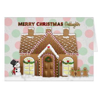 Tarjeta Navidad de la casa de pan de jengibre - ahijada