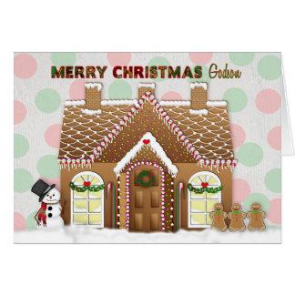 Tarjeta Navidad de la casa de pan de jengibre - ahijado