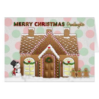 Tarjeta Navidad de la casa de pan de jengibre - nieta
